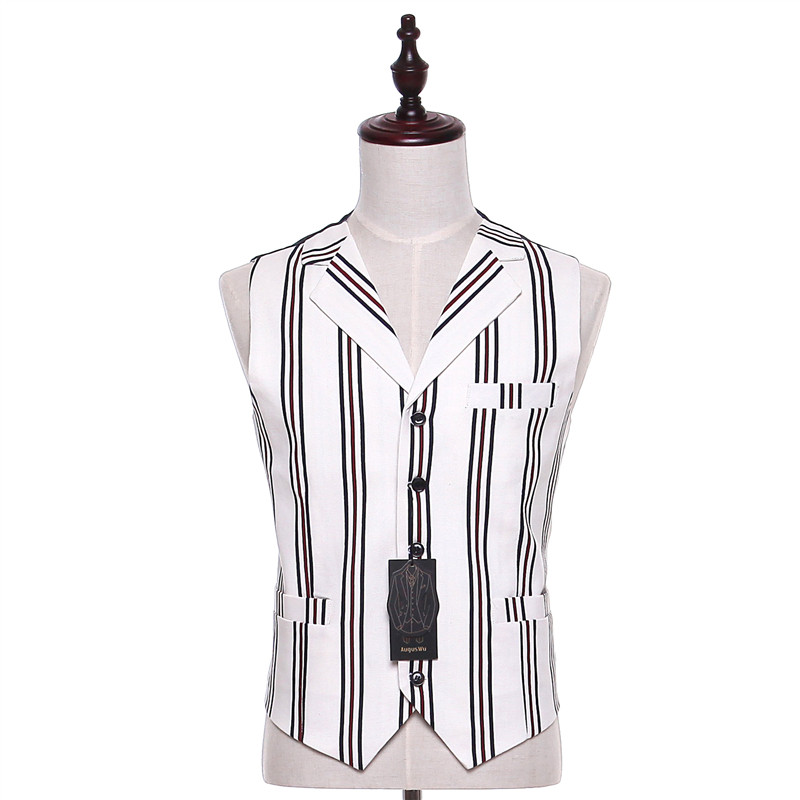 Mens Casual Vest Black Red Stripe Pattern Wool Casual Wedding Tuxedo Formal Business Blazer Waistcoat Evening Chalecos Hombre