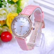 Marca de moda Reloj de Cuarzo Resistente Al Agua de Las Mujeres de la Señora de Cuero Genuino Diamante De Alta Calidad Distintiva Con Calendario de Pulsera