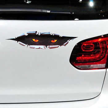 11*43CM Cute 3D Cat Eyes Car Stickers car styling vinyl decal sticker for Cars Acessories decoration image