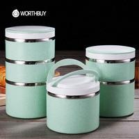 WORTHBUY Japonês de Aço Inoxidável Caixa de Almoço Bento Caixa de Palha De Trigo Para Crianças Portátil Piquenique Conjunto de Recipientes Para Alimentos