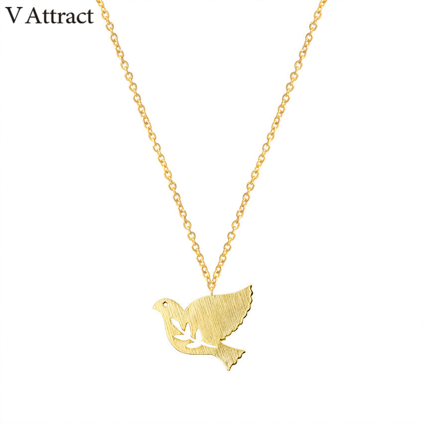 V Attract 2017 Cute Branch Bird Pendants Necklace Women Fashion Jewelry Silver Chain Peace Dove Choker Couple Charm Collier