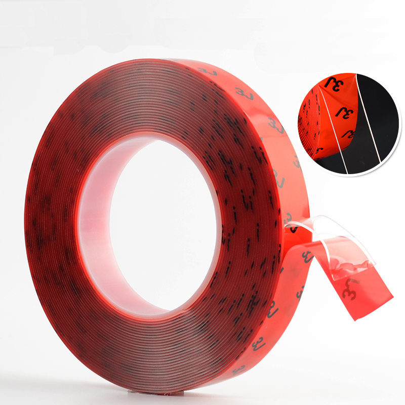 Strong double-sided adhesive Transparent No trace waterproof Car Etc Acrylic transparent Double sided tape T1mm 5x 5mm 33 meters 0 8mm double sided transparent acrylic glue adhesive tape for auto glass metal car track shim attachment