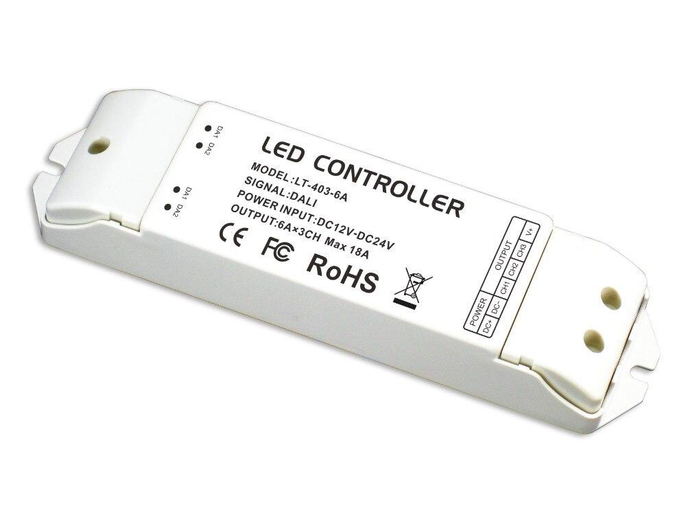 LT-403-6A;DALI to PWM CV Dimming Driver;DC12-24V input;6A*3CH Max 18A output ltech lt 403 6a dali led dimming driver dc12 24v input 6a 3ch max 18a output led controller for rgb led strip