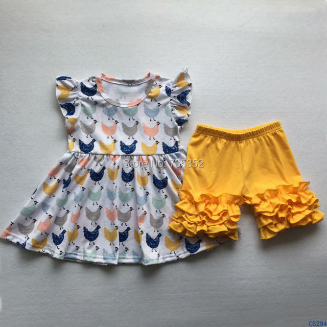 bef033c72953 free shipping Pretty Little Girls Boutique Summer Outfits Kids Chicken  Pattern Flutter Sleeve Dresses Icing Shorts Clothing Sets