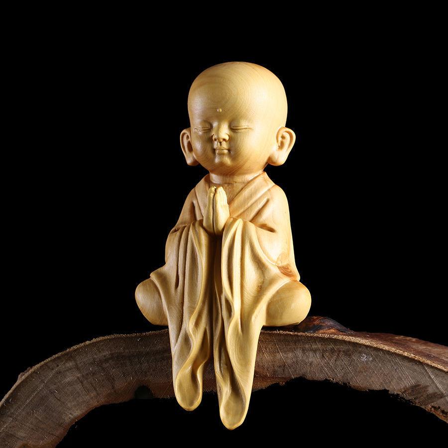 12.8*6.2*4.2 CM Stunning Boxwood Carving: Little Monk Za-zen