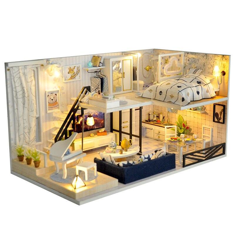 Bricolage maison de poupée en bois maison de poupée assembler Kit jouet à la main Miniature Loft avec meubles maisons de poupée pour enfants cadeau jouets