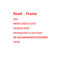 Hot Sale Full Carbon Road Bike Frame BSA BB30 BB92 PF30 BB90 Custom Painting Racing Brompton