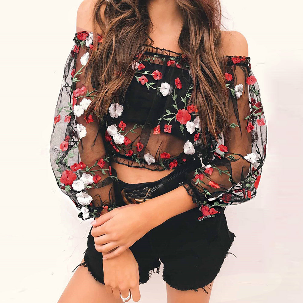 Womens Mesh Sheer Floral Embroidered Shirts Off Shoulder See-through Crop Tops Blouses Blusas Mujer De Moda 2017 gc3