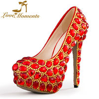 Love Moments shoes woman red wedding shoes rhinestone gold ladies shoes Platform high heels party dress shoes Custom Made Pumps