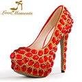 Love moments mulher sapatos de casamento vermelho sapatos de strass senhoras de ouro plataforma sapatos de salto alto vestido de festa sapatos