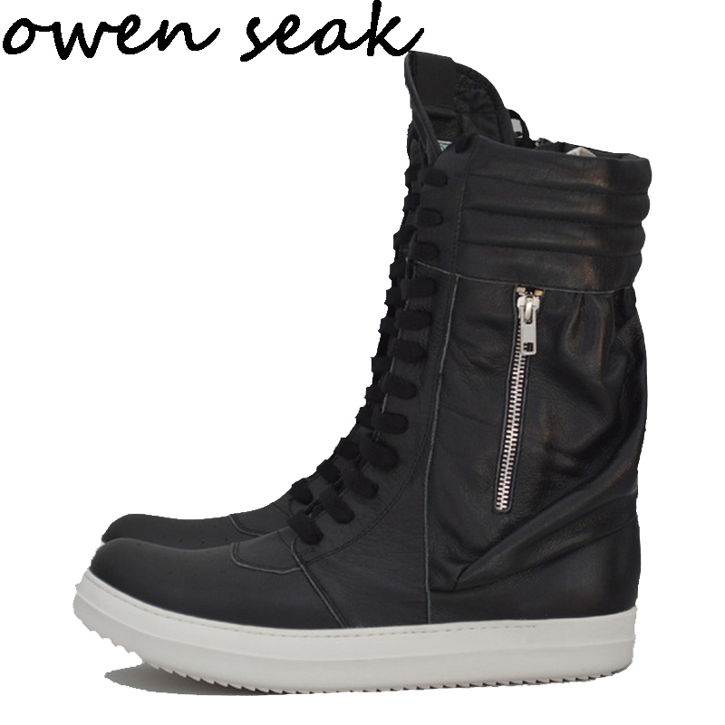 Owen Seak Men Shoes High Ankle Luxury Trainers Genuine Leather Winter Boots Lace Up Casual Sneaker