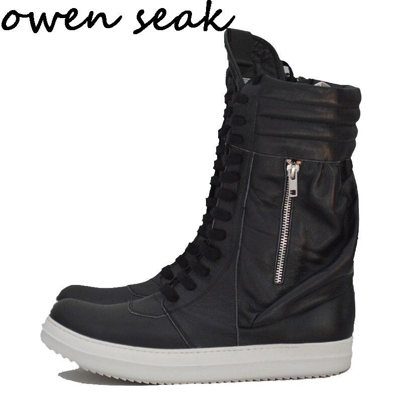 Wen Seak zapatos de hombre de tobillo alto zapatillas de lujo de cuero genuino botas de invierno de encaje Casual zapatillas de deporte de marca Zip negro plano zapatos    1