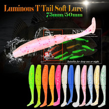 6pcs/lot Noctilucous Shad T Tail Soft Worm 75mm 3g Paddle Taills Artificial Loach Fishing Bait Swimbait Fishing Tackle Pesca