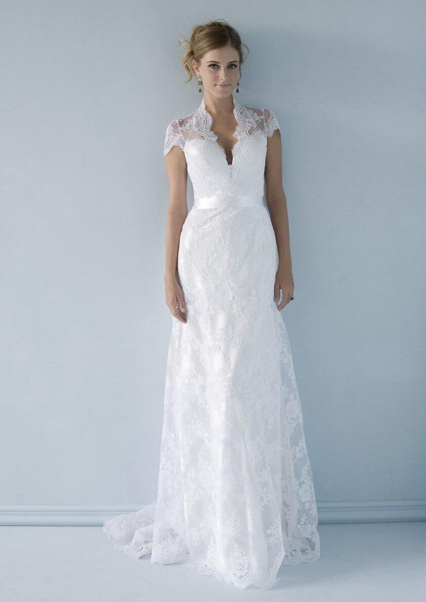 Sexy Deep V Neck Open Back Sash White Ivory A line Wedding Dress ...