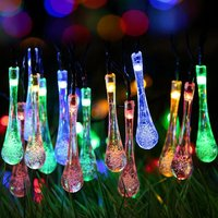 Solar Powered 20LED 3.1M Waterproof Crystal Bubble Water Drop String Light Garden Wedding Christmas Party lamp DIY Decoration