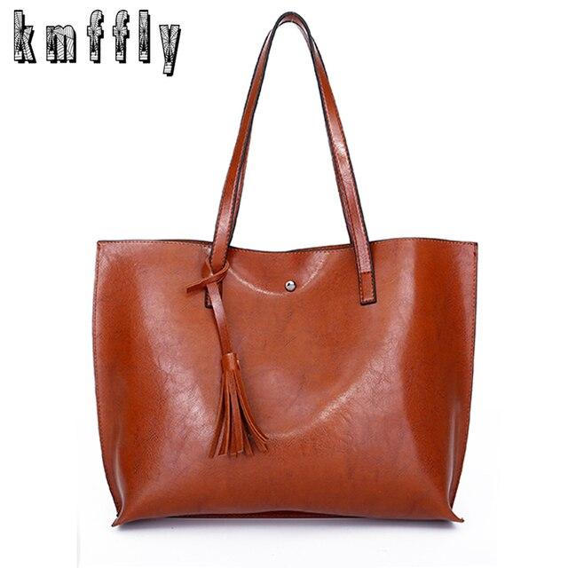 Novo Óleo de cera de couro das mulheres Simples do vintage bolsa breve assel bolsas sacolas ombro sacos de grande capacidade de luxo projeto 2019