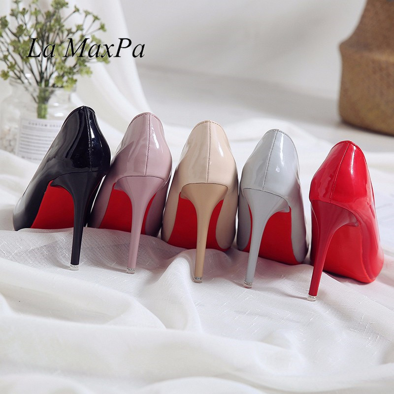 Women Sexy Pumps Shoes 10cm Nude Black Pointed Toe High Heeled 10CM Party Prom Patent Leather Pointy