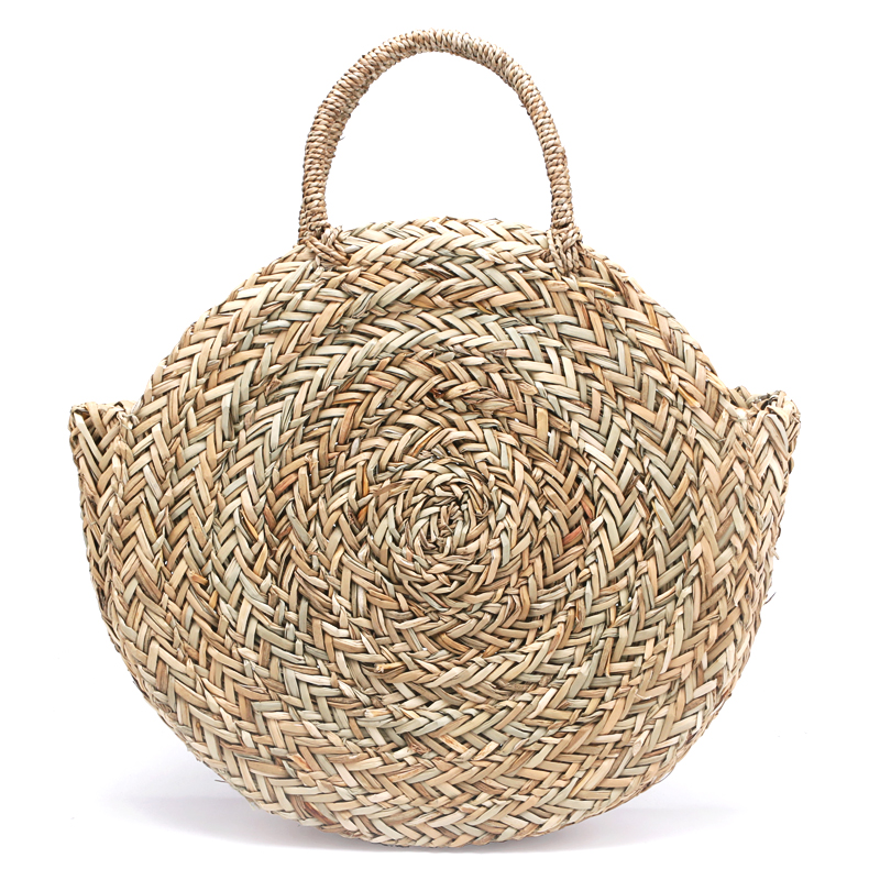 цена на New Natural hand-woven big straw bag round popularity straw Women Shoulder Bag beach holiday bag Ladies Tote large handbag