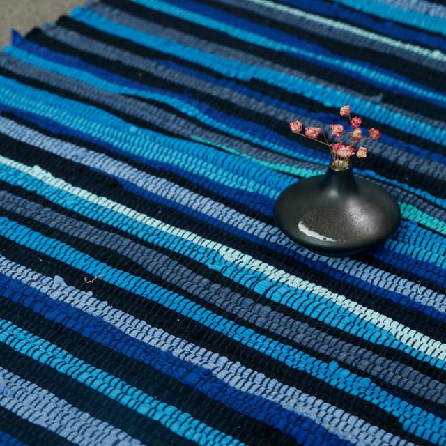 Retro Striped Cotton Bedroom Carpet