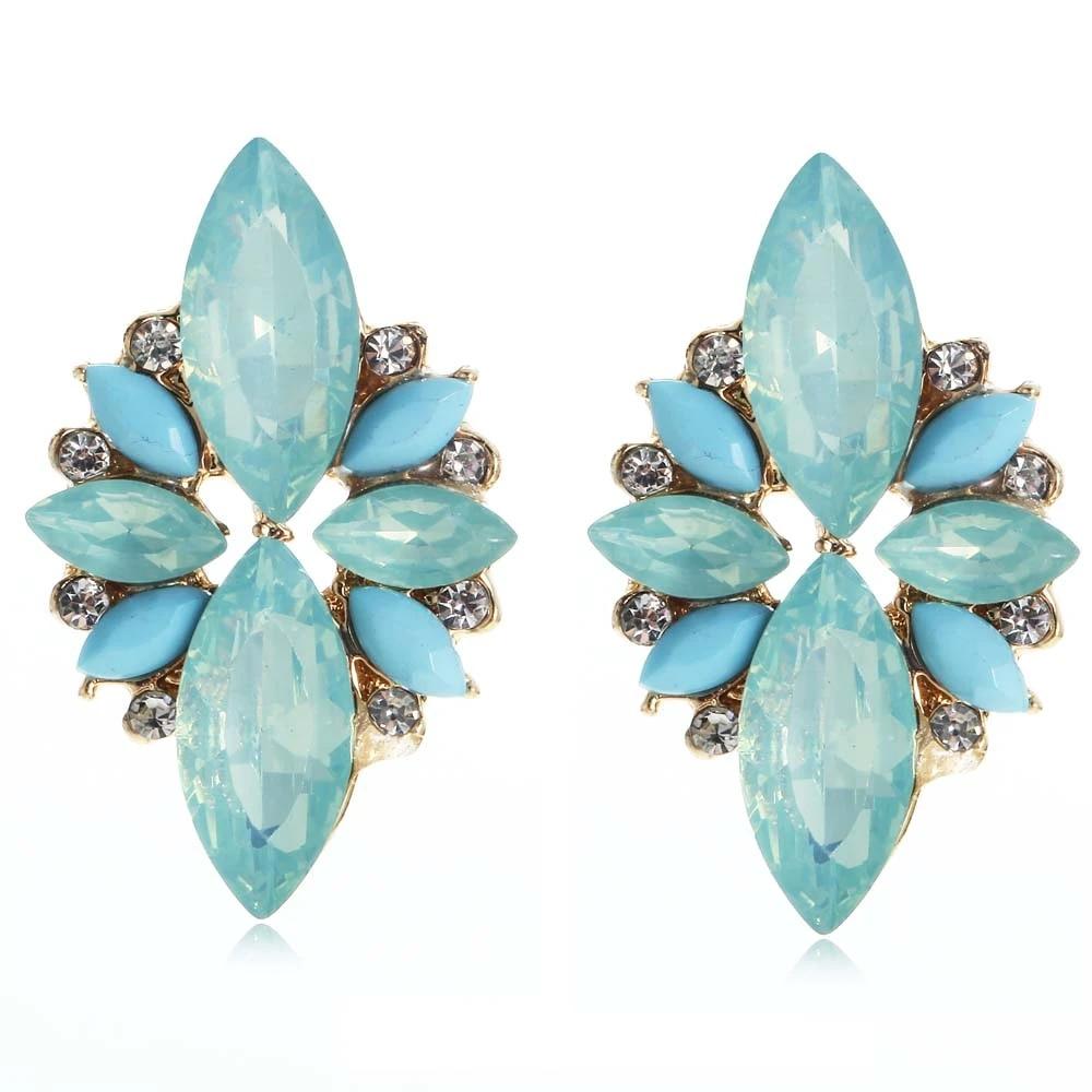 Green and white glass dangle earrings