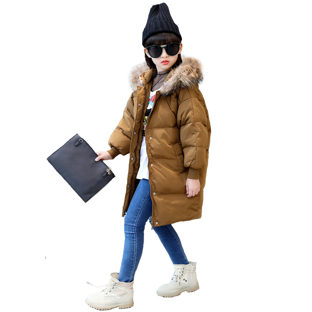 Fur Coat Winter Warm Baby fur coat Kids Parkas Fur Collar Jacket for girl clothes fashion long coat teenager 5 10 15 Y children 2017 new winter cotton coat women long loose thick warm jacket fashion hooded fur collar female big pocket parkas
