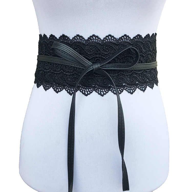 9dc8570e06 ... Belts for Women Wedding Dress Female Waist Band Badinka Black White  Wide belt leather Corset Lace ...