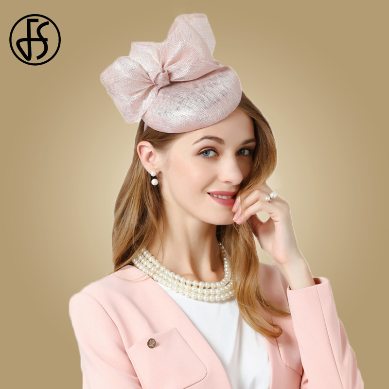 1c13918058b80 FS Fascinator Hats For Women Pink Sinamay Pillbox Hat Ladies Wedding  Fedoras With Bowknot Linen Fedora