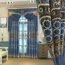 European Dark blue luxury villa embroidered blackout Curtains for living room classic Tulle Curtain Bedroom Window Treatment