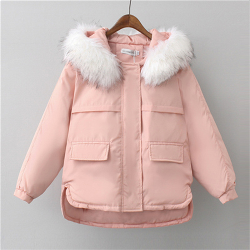 Women Coat Women Winter Women's Coat   parkas   Hoodies Winter Big fur Collar Cotton jacket Padded Warm Woman Cotton Coat J989