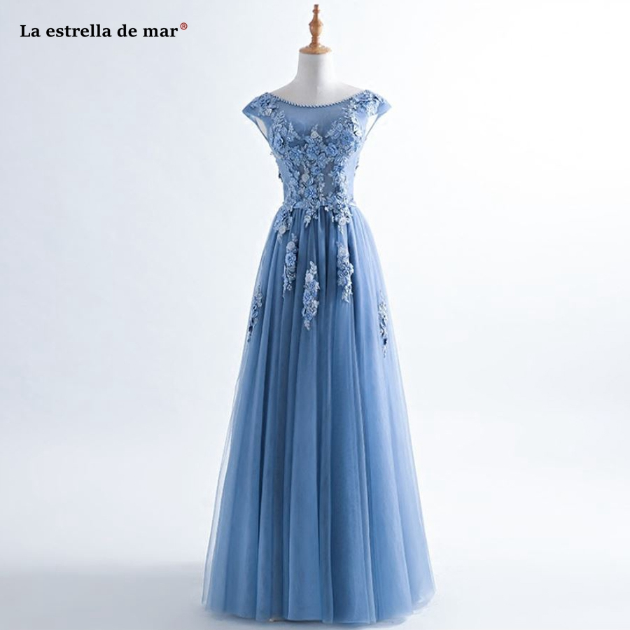La estrella de mar robe demoiselle d'honneur new Scoop neck lace beaded cap sleeve A Line sky blue   bridesmaid     dresses   long plus