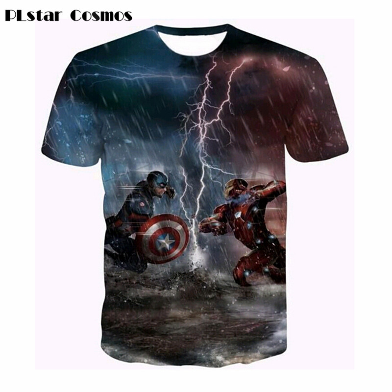 PLstar Cosmos Movie Captain America T Shirt 3D Printed T-shirts Men Avengers iron man unisex tees tops 2018 Brand clothing