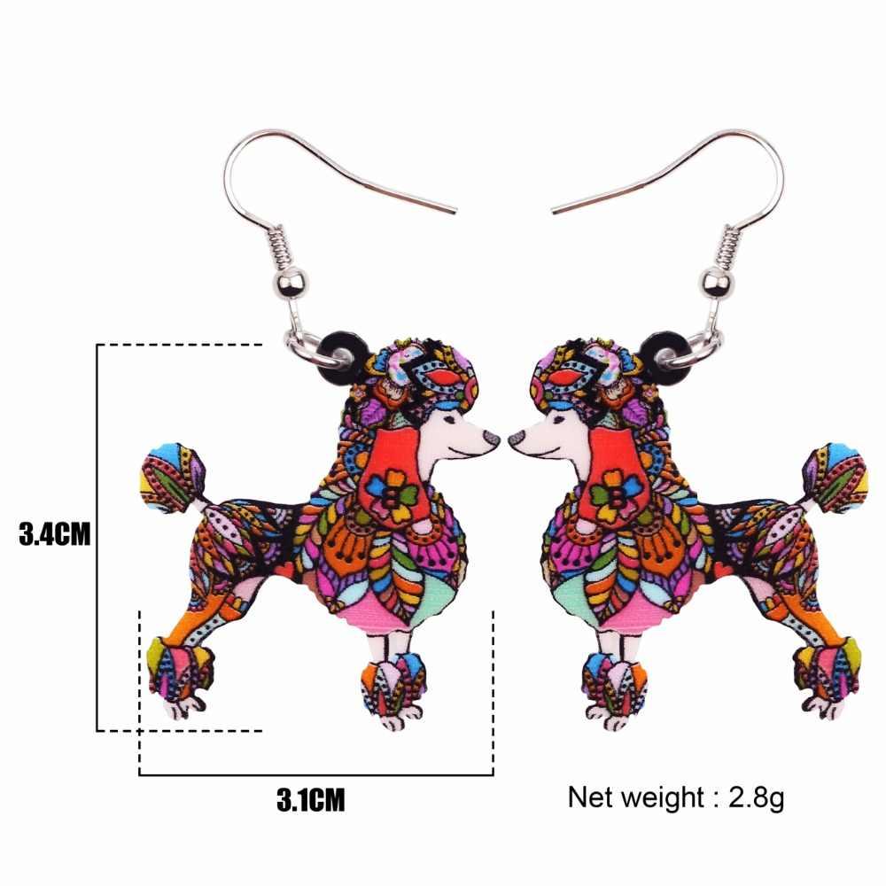Bonsny acrílico perro patrón pendientes largo gran novedad Animal joyería para mujeres niñas regalo fiesta decoración nueva
