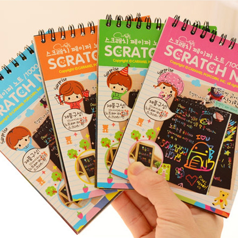 Scratch Scraping Book Art Magic Painting Paper Drawing Stick Kid Education Toy