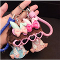 2016 New Year Gift MONCHICHI BLING BOWKNOT DESIGN PREMIUM KEYCHAIN FOR BAG CAR PENDANT KEYRING