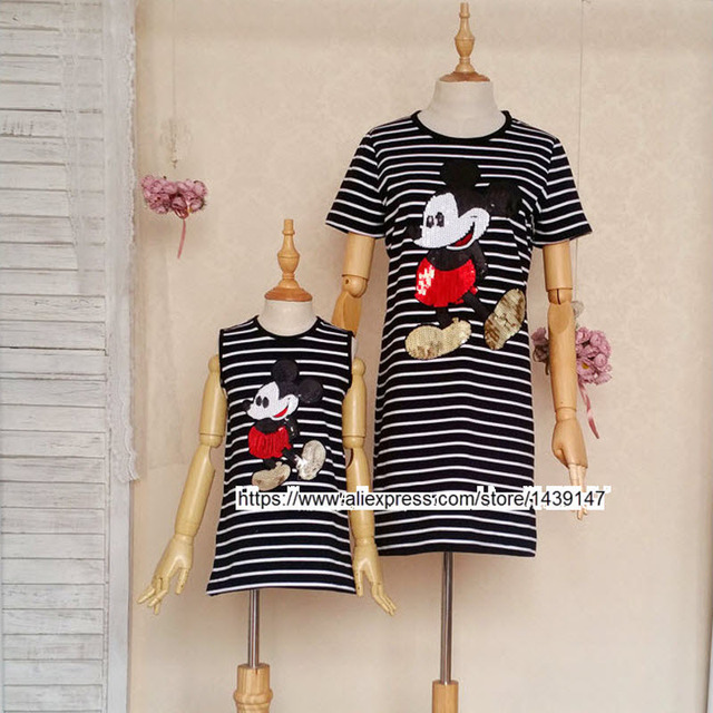 Family fitted clothing Girl Lady Mother daughter matching clothes women Mickey sequins Comfortable striped dress short-sleeve