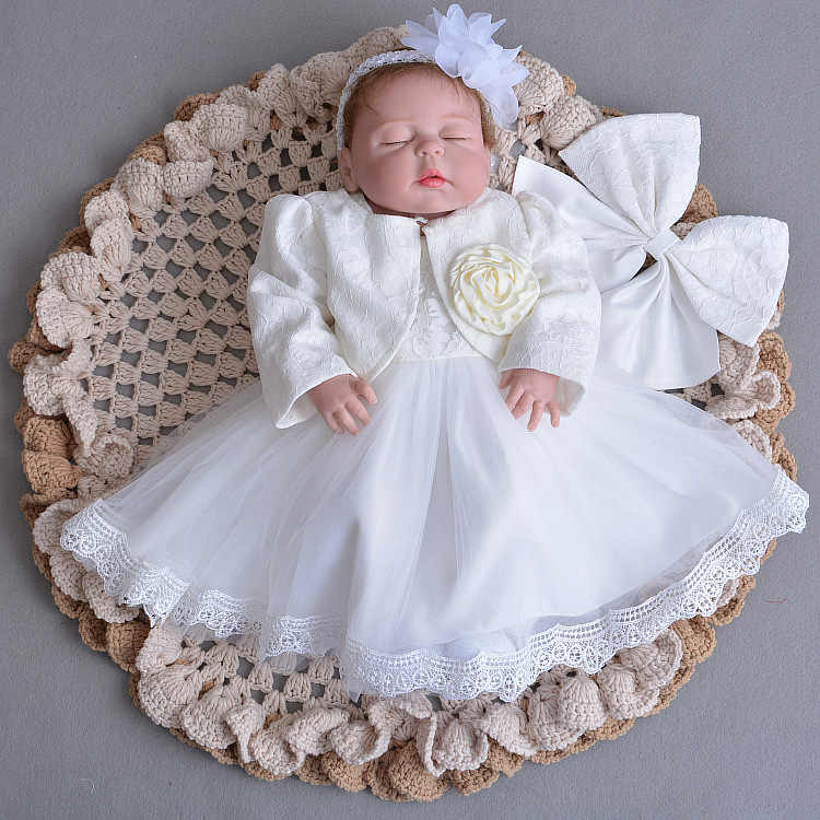 9a868dc01 ... Baby Girl Dress Christening Gown White Wedding Baptism Baby Lace Big  Bow Princess Dress for Newborn ...