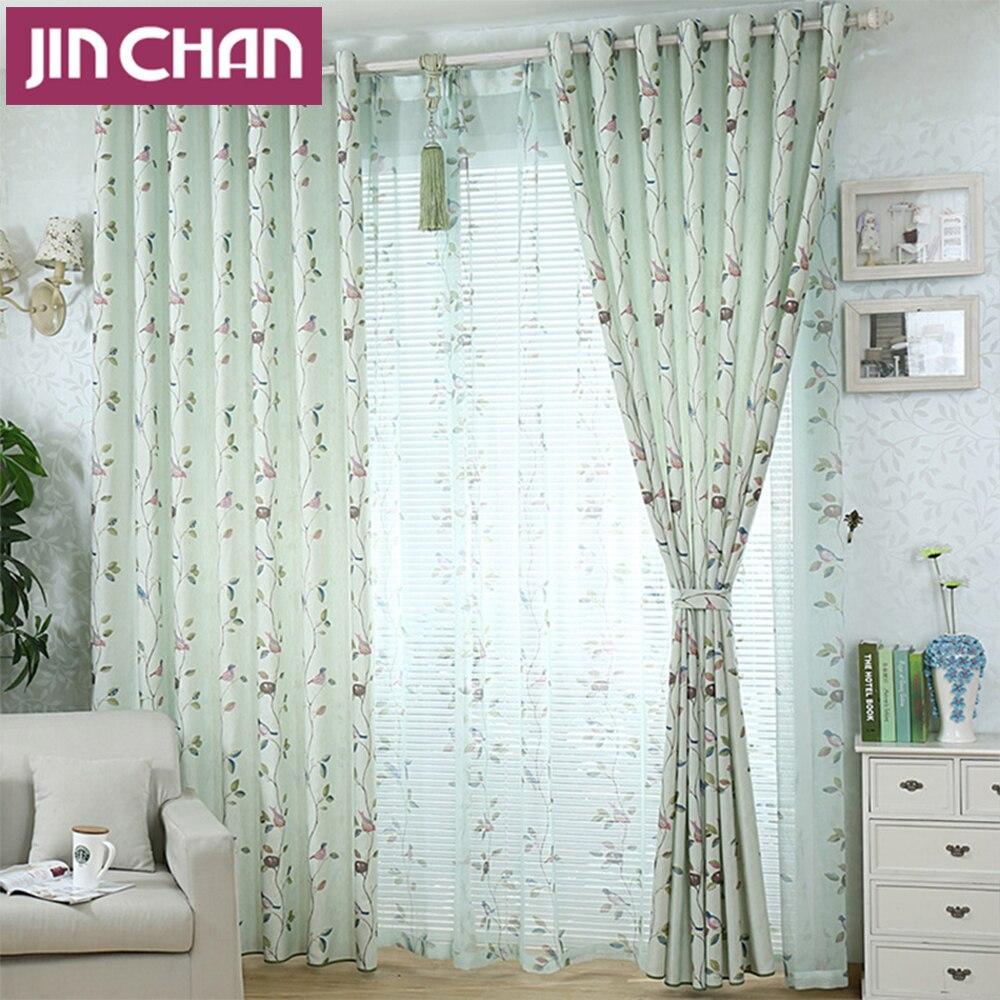 Elegant Bird Plants Pattern Window Blackout Curtains For
