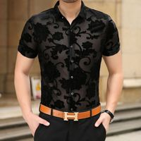 Embroidery Men Transparent Shirt Summer New Sexy Lace Shirt For Male See Through Mesh Shirt Club Party Prom Chemise Homme 3XL