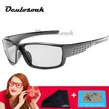 Oculosoak Photochromic Sunglasses Men Polarized Chameleon Discoloration Sun Glasses For Fashion Square Driving Accessories