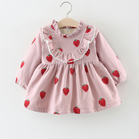 Baby Dress Winter 1 Year Old Baby Girls Dress pink New Born Baby Girl Clothes long sleeves Infant Princess Floral Dress