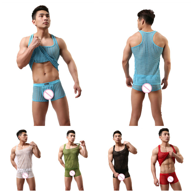 Men's Mesh Pajamas Sets Men Sexy Underwear Sleep Tops Tshirts Shorts Hollow See Through Transparent Sleepwear Suit