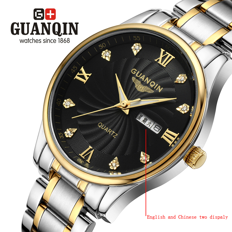 ФОТО Brand GUANQIN Men's watches erkek kol saati dress Watch men quartz watch crystal vintage business classic steel 076a