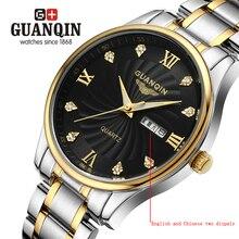 Бренд GUANQIN мужские часы эркек коль saati платье Смотреть мужчины кварцевые часы кристалл урожай бизнес классический стали 076a