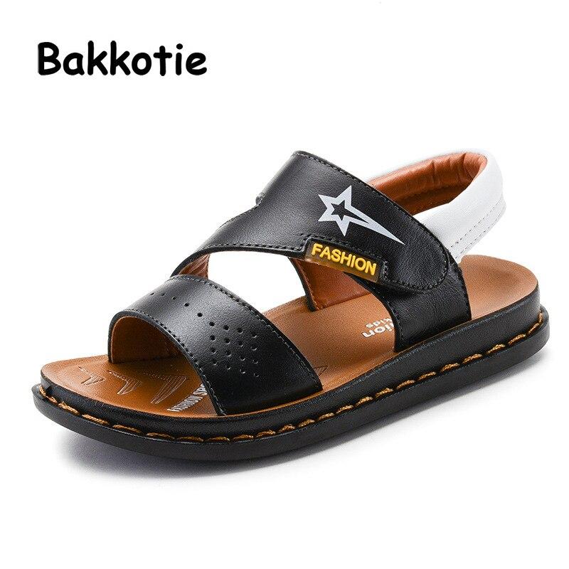 Bakkotie 2018 New Fashion Summer Baby Boy Star Flats Children Brand Blue Beach Sandals Kids Genuine Leather Soft Casual Shoes