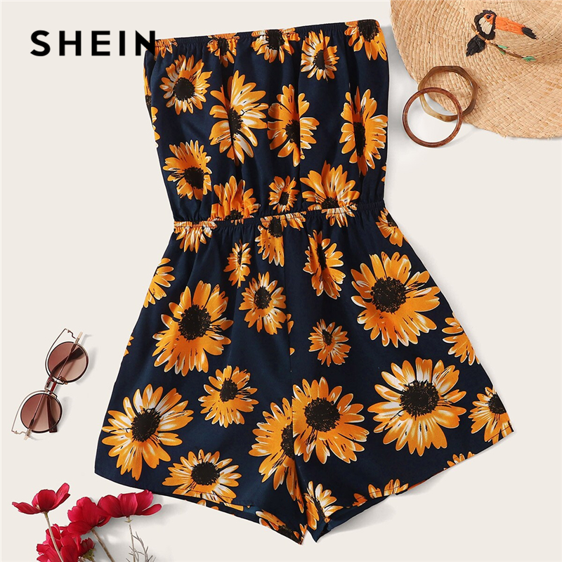 SHEIN Sunflower Print Tube Romper Boho Strapless Floral Wide Leg Playsuit 2019 Black Summer Sleeveless Women Clothing Romper