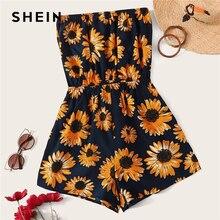 SHEIN Sunflower Print Tube Romper Boho Strapless Floral Wide Leg Playsuit 2019 B