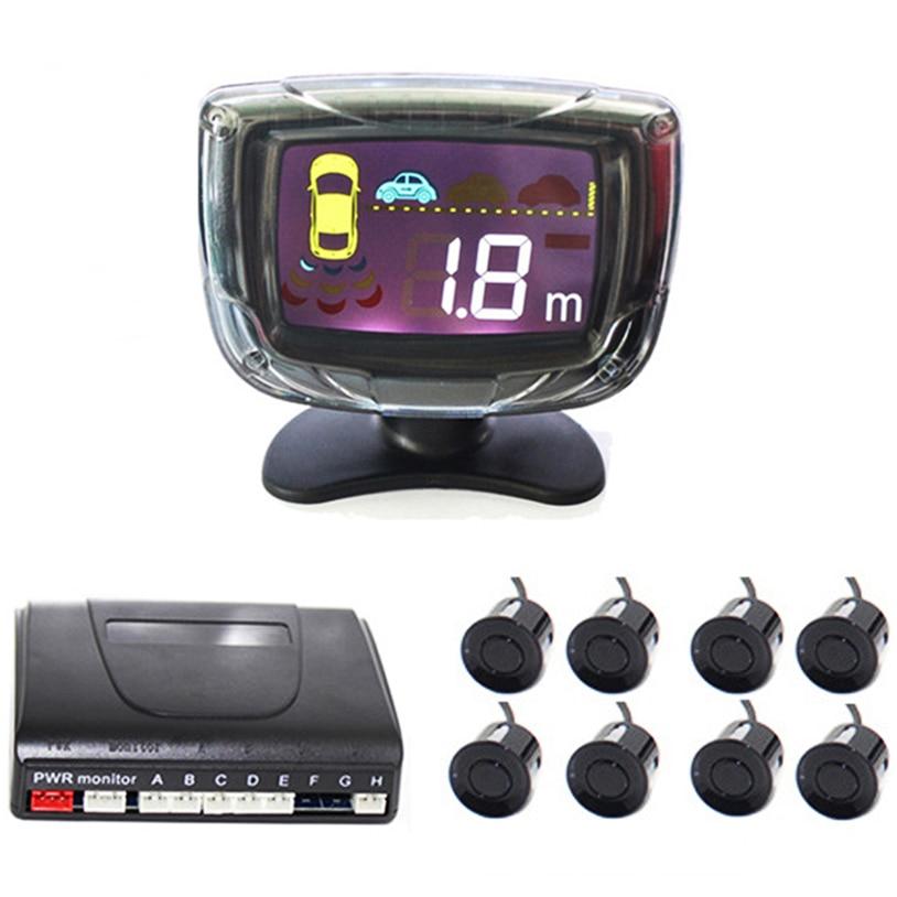Auto Parking Assistance 8 Parking Sensor Rear Front Backup Reversing Sensors Radar Kit With LCD Display Monitor Alarm System 12V