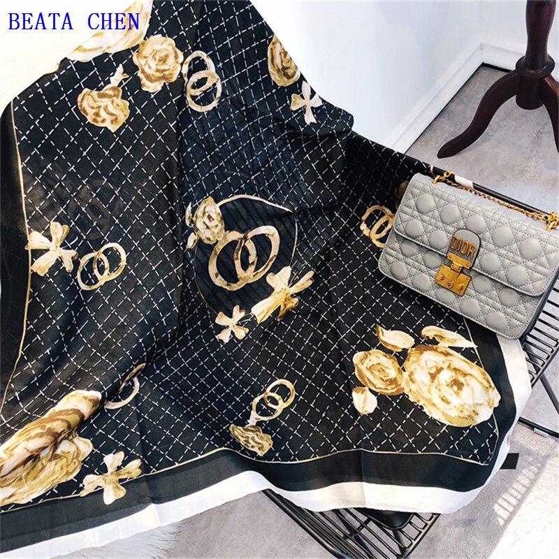 2018 marque de luxe d'été femmes écharpe de mode qualité doux soie echarpes femme châles Foulard Plage cover-up enveloppe soie bandana