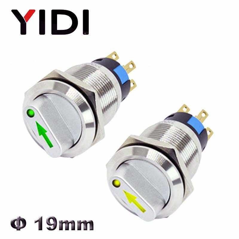 19mm 2 3 positions sélecteur de métal commutateur rotatif verrouillage bouton poussoir SPDT avec interrupteur lumineux 12V LED