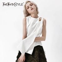 TWOTWINSTYLE Hollow Vest For Women Sleeveless Ribbons Patchwork White Vests Top Female 2018 Summer Fashion Casual Clothing